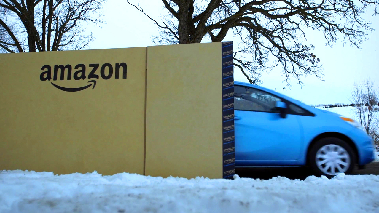 What's in the Giant Amazon Box? stunt with Nissan Versa Note